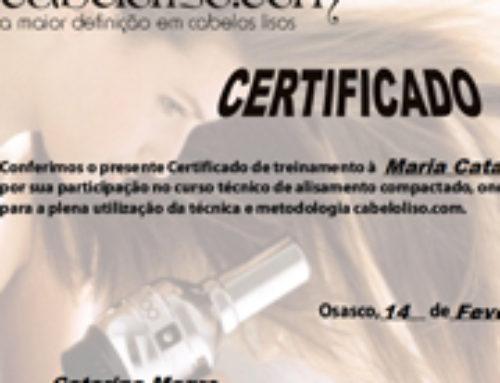 Certificado – Técnicas e Metodologias de Alisamento Compactado